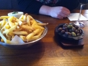 Chips and olives at The Brown Fox